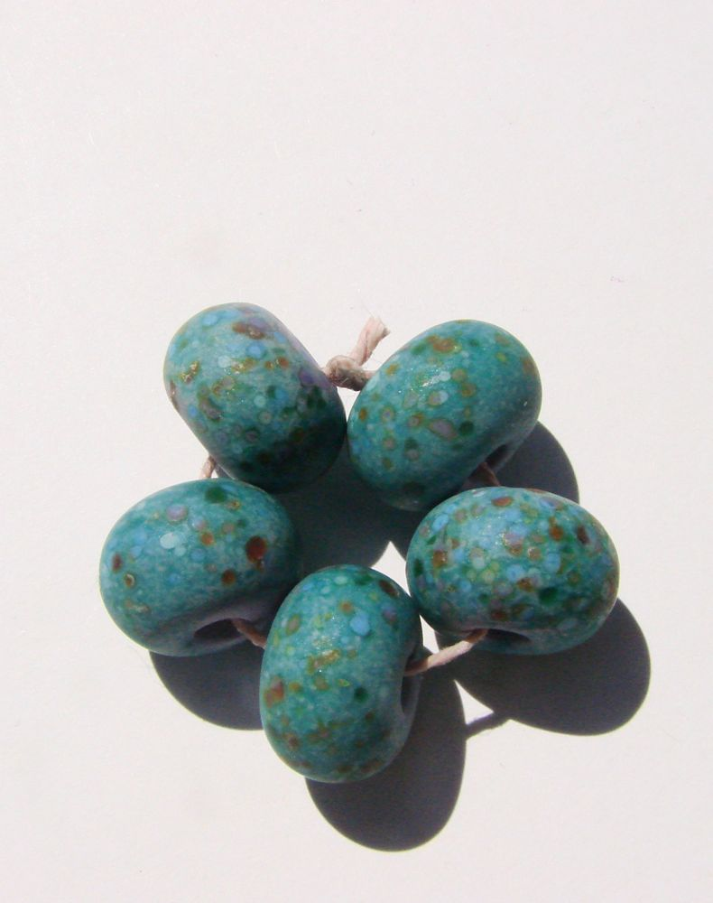 5 Lavender with Reduction powder lampwork Beads